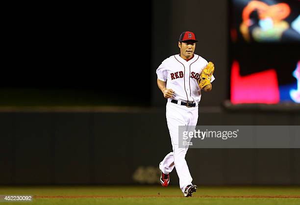 American League AllStar Koji Uehara of the Boston Red Sox enters the game against the National League AllStars in the sixth inning during the 85th...