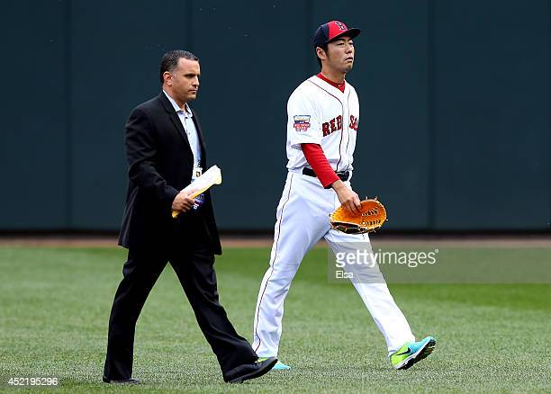 American League AllStar Koji Uehara of the Boston Red Sox walks off the field during batting practice before the 85th MLB AllStar Game at Target...