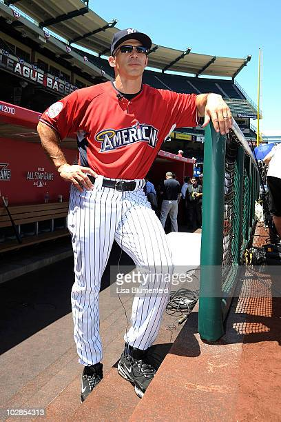American League AllStar Manager Joe Girardi of the New York Yankees looks on during the 81st MLB AllStar Game at Angel Stadium of Anaheim on July 13...