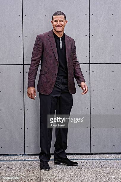 American League AllStar Manny Machado of the Baltimore Orioles poses for a portrait as he enters Petco Park following the Red Carpet parade before...