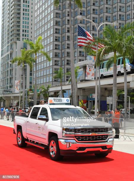 American League AllStar Michael Fulmer of the Detroit Tigers rides in a Chevy Truck during the Red Carpet Parade prior to the 88th MLB AllStar Game...