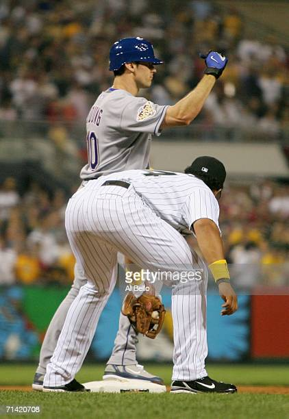 American League AllStar Michael Young of the Texas Rangers celebrates after hitting a game winning tworun triple in the ninth inning against the...