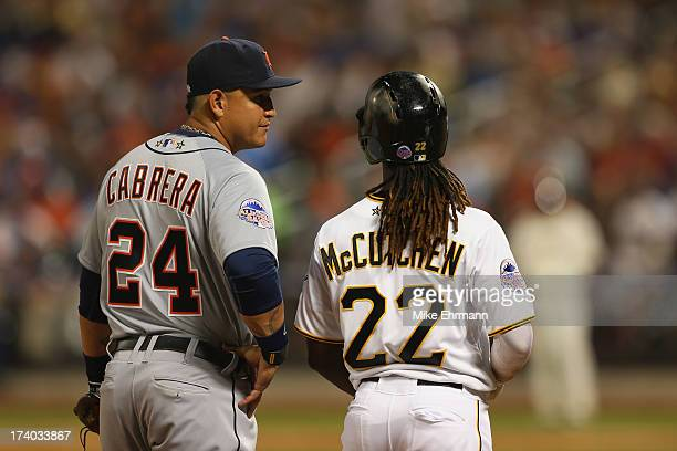 American League All-Star Miguel Cabrera of the Detroit Tigers talks with National League All-Star Andrew McCutchen of the Pittsburgh Pirates during...