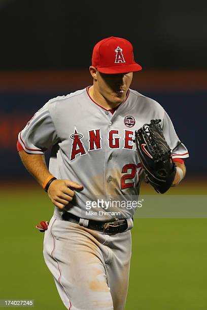 American League AllStar Mike Trout of the Los Angeles Angels of Anaheim jogs off the field during the 84th MLB AllStar Game on July 16 2013 at Citi...