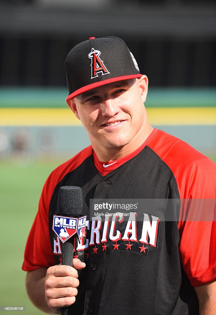 American League All-Star Mike Trout #27 of the Los Angeles Angels of Anaheim looks on during the Gatorade All-Star Workout Day at Great American Ball Park on July 13, 2015 in Cincinnati, Ohio.