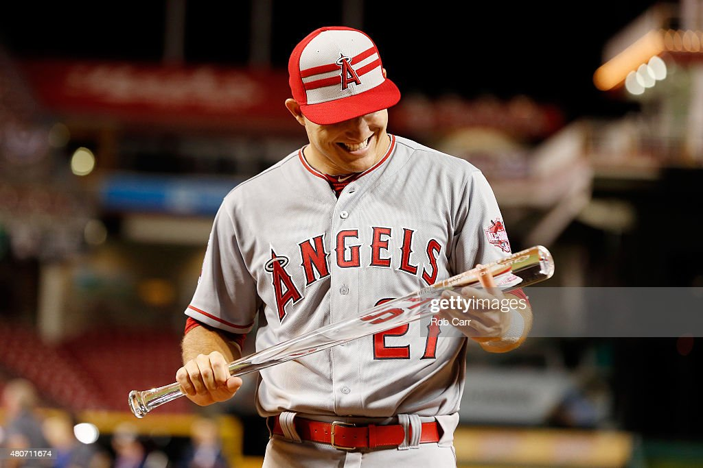 American League All-Star Mike Trout #27 of the Los Angeles Angels of Anaheim poses with the MVP trophy after defeating the National League 6 to 3 in the 86th MLB All-Star Game at the Great American Ball Park on July 14, 2015 in Cincinnati, Ohio.