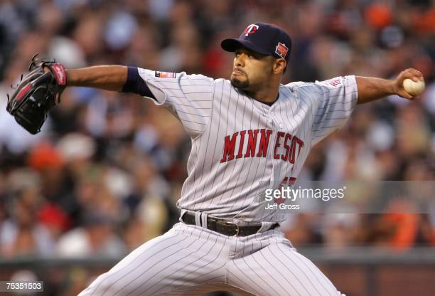 American League AllStar pitcher Johan Santana of the Minnesota Twins pitches in the 78th Major League Baseball AllStar Game at ATT Park on July 10...