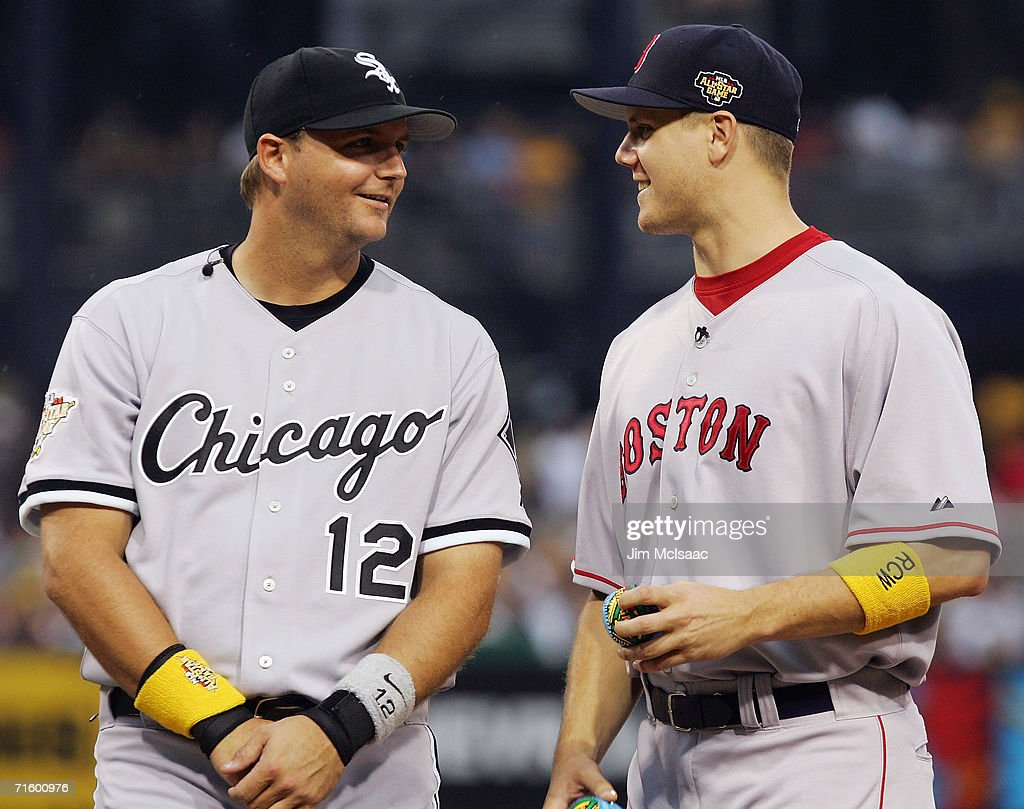 American League All-Star pitcher Jonathan Papelbon #58 of the Boston Red Sox (R) talks with catcher A.J. Pierzynski #12 of the Chicago White Sox before playing the National League All-Star team in the 77th MLB All-Star Game at PNC Park on July 11, 2006 in Pittsburgh, Pennsylvania. The American League won 3-2. at PNC Park on July 11, 2006 in Pittsburgh, Pennsylvania. The American League won 3-2.