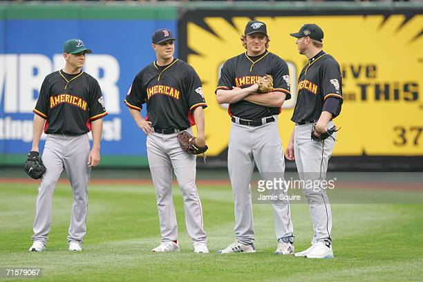 American League AllStar pitchers Scott Kazmir Jonathan Papelbon BJ Ryan and Roy Halladay stand together during practice for the 77th MLB AllStar Game...