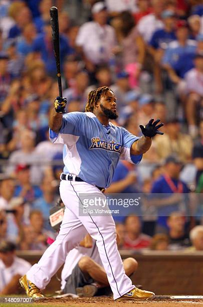 American League AllStar Prince Fielder of the Detroit Tigers at bat in the final round during the State Farm Home Run Derby at Kauffman Stadium on...
