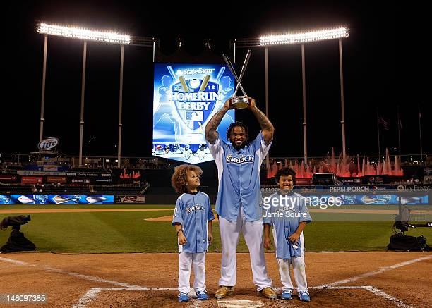 American League All-Star Prince Fielder of the Detroit Tigers poses with sons Jaden and Haven after winning the State Farm Home Run Derby at Kauffman...