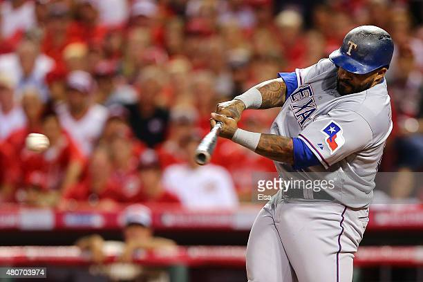 American League AllStar Prince Fielder of the Texas Rangers hits a RBI single to left field in the fifth inning against National League AllStar...
