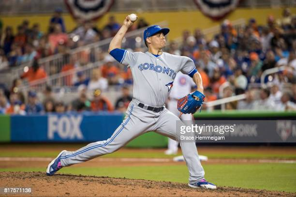 American League AllStar Roberto Osuna of the Toronto Blue Jays pitches during the 88th MLB AllStar Game at Marlins Park on July 11 2017 in Miami...