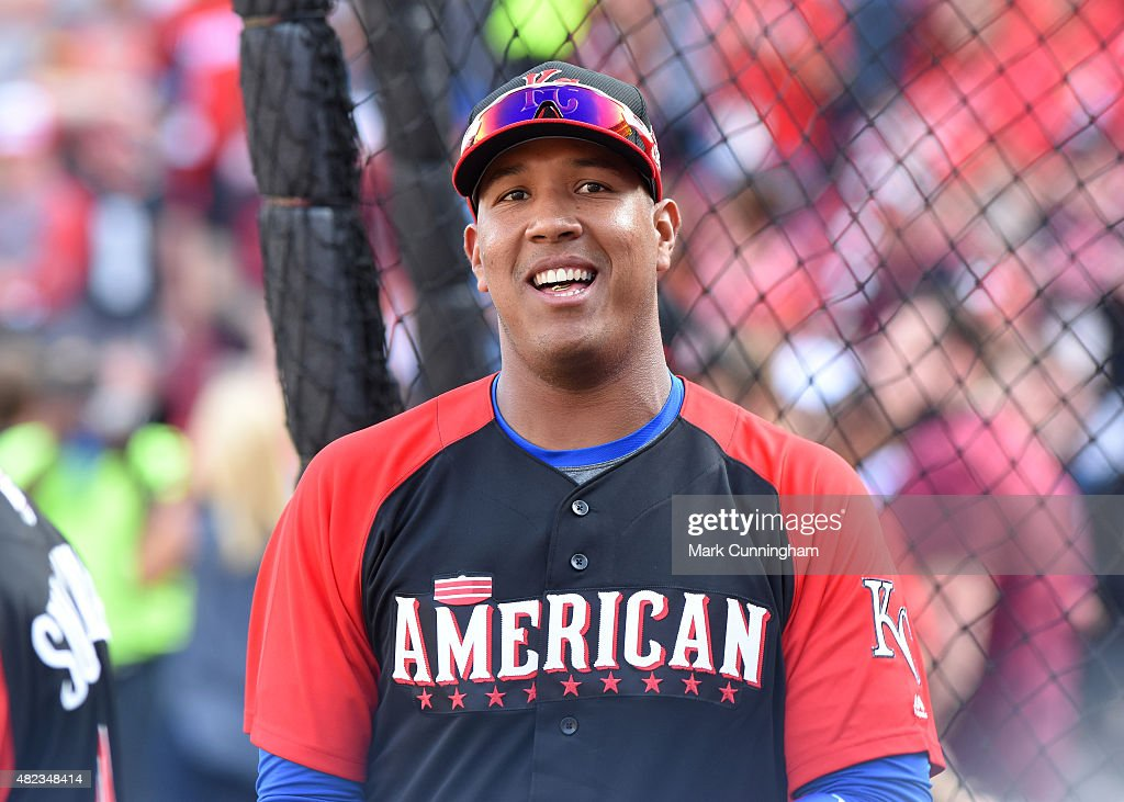 American League All-Star Salvador Perez #13 of the Kansas City Royals looks on during the Gatorade All-Star Workout Day at Great American Ball Park on July 13, 2015 in Cincinnati, Ohio.