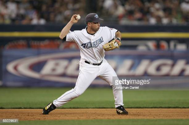 American League All-Star Shea Hillenbrand of the Toronto Blue Jays makes a play to seond base against the National League All-Stars during the eighth...