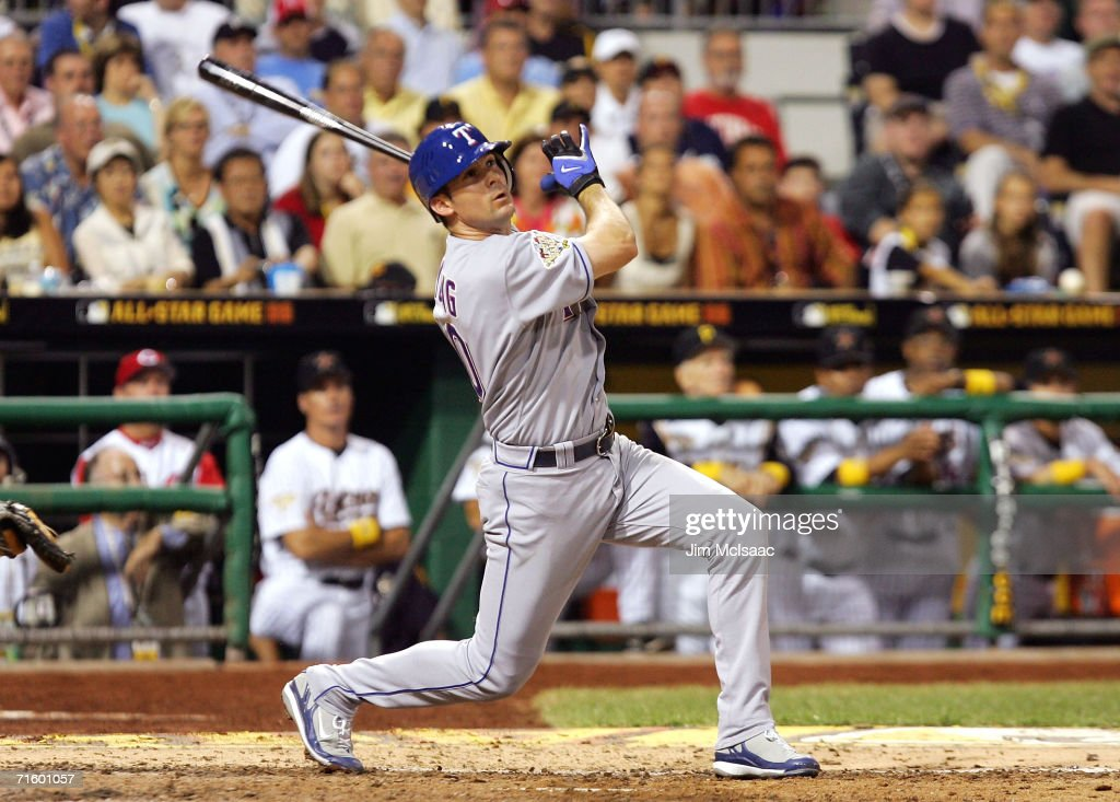 American League All-Star shortstop Michael Young #10 of the Texas Rangers watches his two-run triple against the National League All-Star team during the 77th MLB All-Star Game at PNC Park on July 11, 2006 in Pittsburgh, Pennsylvania. The American League won 3-2.