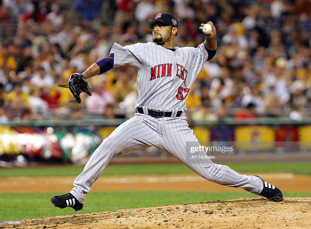 American League All-Star team pitcher Johan Santana #57 of the Minnesota Twins pitches against the National League All-Stars during the 77th MLB All-Star Game at PNC Park on July 11, 2006 in Pittsburgh, Pennsylvania. The American League won 3-2.