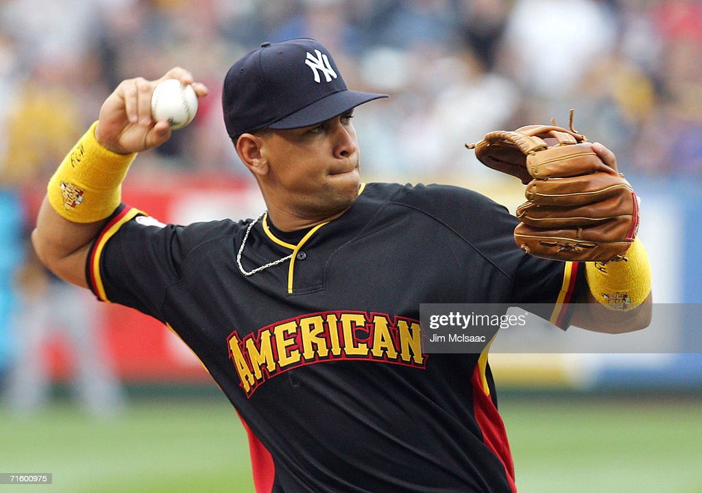 American League All-Star third baseman Alex Rodriguez #13 of the New York Yankees warms-up on the field before the 77th MLB All-Star Game at PNC Park on July 11, 2006 in Pittsburgh, Pennsylvania. The American League won 3-2.