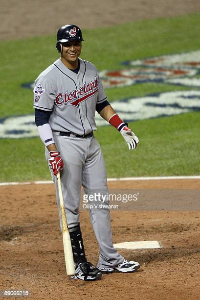 American League All-Star Victor Martinez of the Cleveland Indians smiles while standing at the plate during the 2009 MLB All-Star Game at Busch...