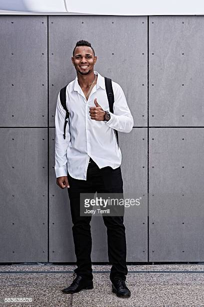 American League AllStar Xander Bogaerts of the Boston Red Sox poses for a portraits as he enters Petco Park following the Red Carpet parade before...