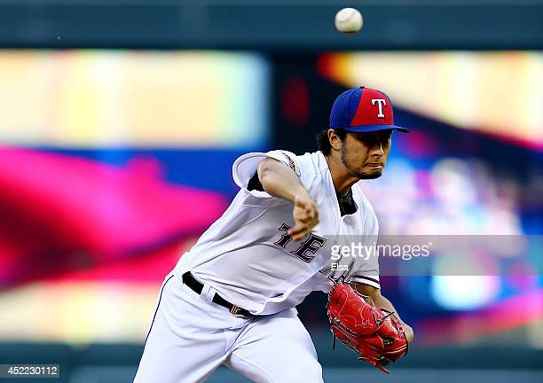 American League AllStar Yu Darvish of the Texas Rangers pitches against the National League AllStars in the third inning during the 85th MLB AllStar...