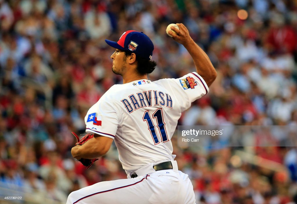 American League All-Star Yu Darvish #11 of the Texas Rangers pitches against the National League All-Stars in the third inning during the 85th MLB All-Star Game at Target Field on July 15, 2014 in Minneapolis, Minnesota.