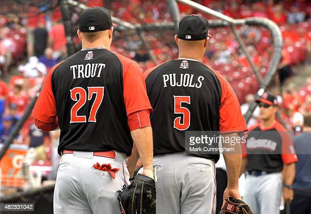 American League AllStars Albert Pujols and Mike Trout of the Los Angeles Angels of Anaheim stand together during batting practice prior to the 86th...
