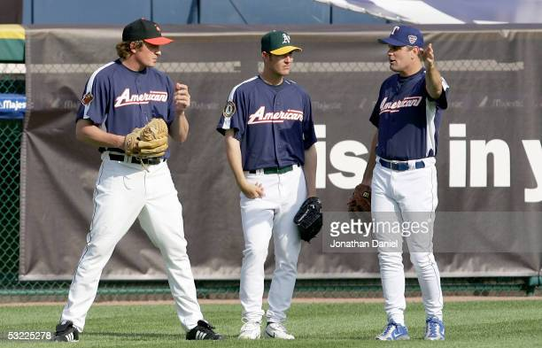 American League All-Stars B.J. Ryan of the Baltimore Orioles, Justin Duchscherer of the Oakland Athletics and Kenny Rogers of the Texas Rangers talk...