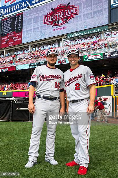 American League AllStars Brian Dozier and Glen Perkins of the Minnesota Twins pose for a photo prior to the the 86th MLB AllStar Game at the Great...