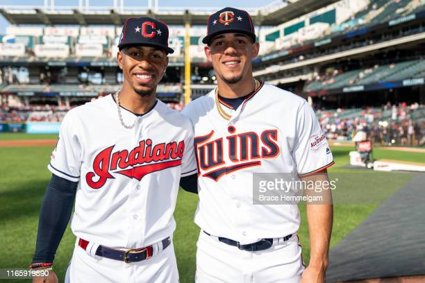 American League AllStars Jose Berrios of the Minnesota Twins and Francisco Lindor of the Cleveland Indians prior to the 90th MLB AllStar Game on July...