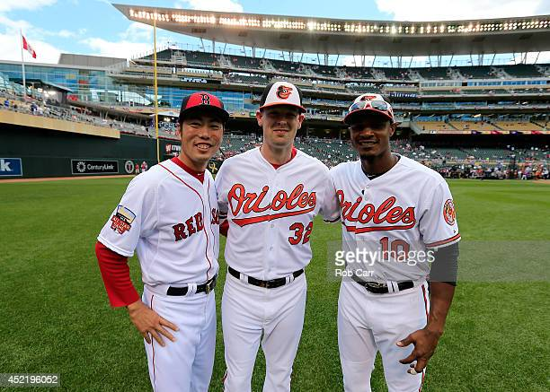 American League AllStars Koji Uehara of the Boston Red Sox and Matt Wieters and Adam Jones of the Baltimore Orioles pose for a photo prior to the...