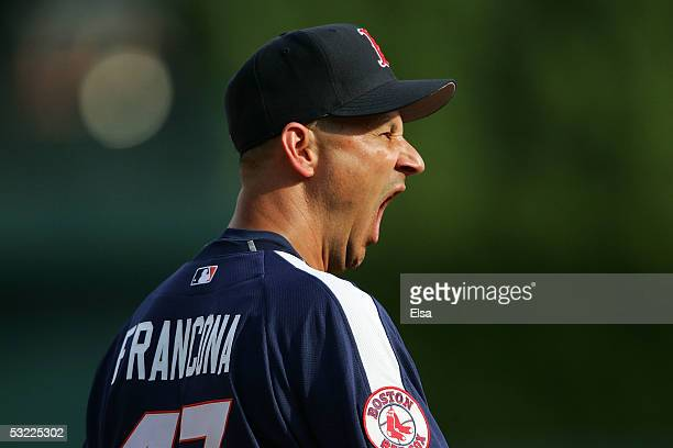 American League AllStars manager Terry Francona of the Boston Red Sox looks on during batting practice before the 2005 Major League Baseball Home Run...