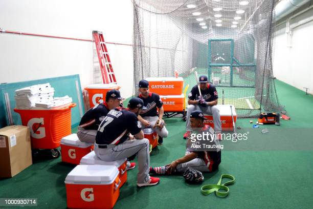 American League AllStars Mitch Haniger of the Seattle Mariners Alex Bregman and Jose Altuve of the Houston Astros Salvador Perez of the Kansas City...