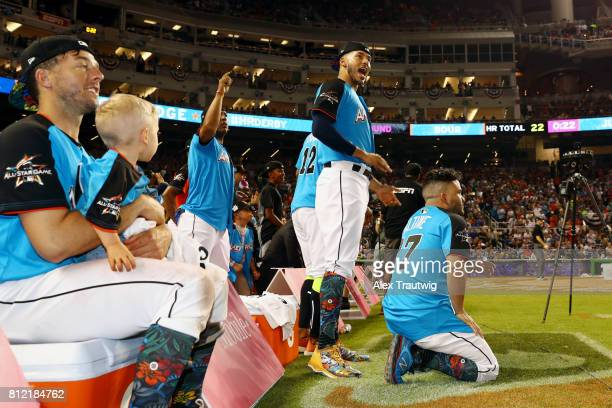 American League AllStars react to an Aaron Judge of the New York Yankees home run during the 2017 TMobile Home Run Derby at Marlins Park on Monday...