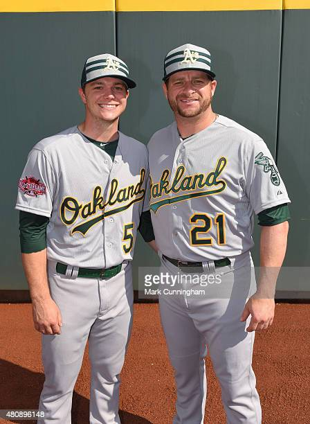 American League AllStars Sonny Gray and Stephen Vogt of the Oakland Athletics pose for a photo prior to the 86th MLB AllStar Game at Great American...