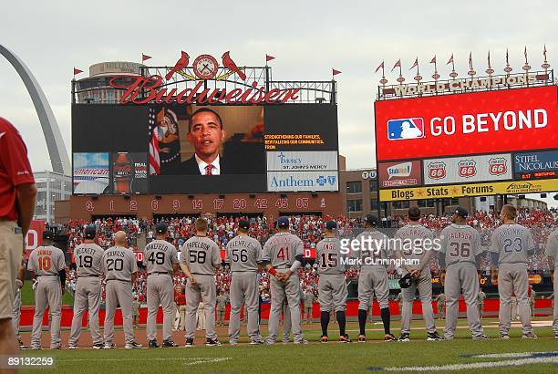 American League AllStars watch a message from President Barack Obama on the scoreboard during the opening ceremonies of the 2009 MLB AllStar Game at...