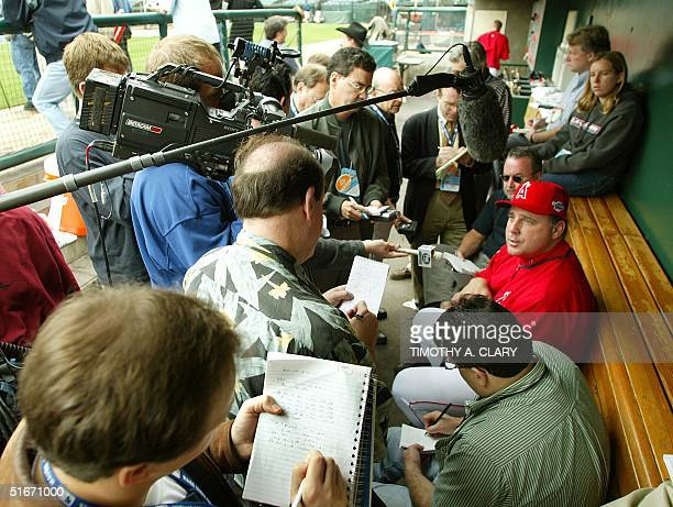 American League Champion Anaheim Angels manager Mike Scioscia talks to the press during practice at Edison Field 16 October 2002 in Anaheim CA The...