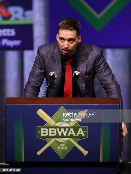 American League Cy Young Award winner Blake Snell of the Tampa Bay Rays speaks during the 2019 Baseball Writers' Association of America awards dinner...