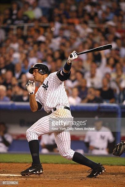 American League Division Series New York Yankees vs Cleveland Indians at Yankee Stadium GAME4 Alex Rodriguez hits solo home run in seventh inning at...