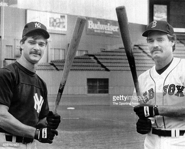 American League hitting leaders Don Mattingly of the Yankees and Wade Boggs of the Red Sox stand on the field prior to their game on October 5 1986...