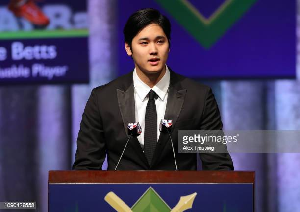 American League Jackie Robinson Rookie of the Year Shohei Ohtani of the Los Angeles Angels speaks during the 2019 Baseball Writers' Association of...