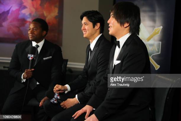 American League Jackie Robinson Rookie of the Year Shohei Ohtani of the Los Angeles Angels is interviewed during the 2019 Baseball Writers'...