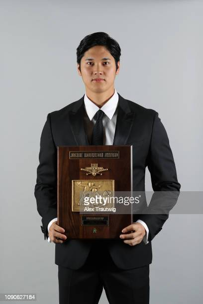 American League Jackie Robinson Rookie of the Year Shohei Ohtani of the Los Angeles Angels poses for a photo during the 2019 Baseball Writers'...