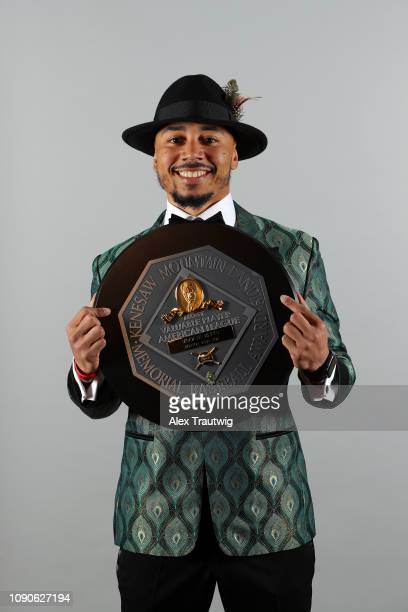 American League MVP Mookie Betts of the Boston Red Sox poses for a photo during the 2019 Baseball Writers' Association of America awards dinner on...