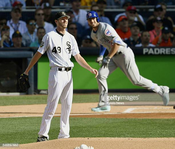 American League starter Chris Sale of the Chicago White Sox reacts after allowing a solo home run to National League infielder Kris Bryant of the...