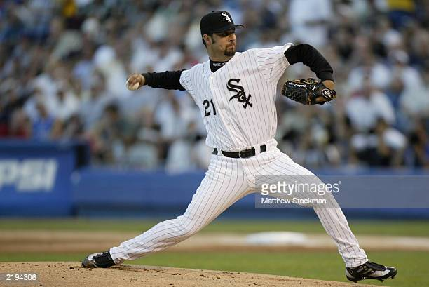 American League starting pitcher Esteban Loaiza from the Chicago White Sox throws against the National League during the 74th Major League Baseball...