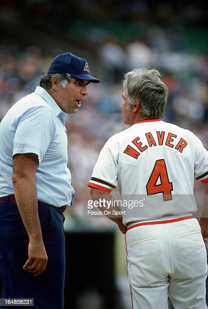 American League Umpire Ron Luciano argues with Manager Earl Weaver of the Baltimore Orioles during an Major League Baseball game circa 1978 at...