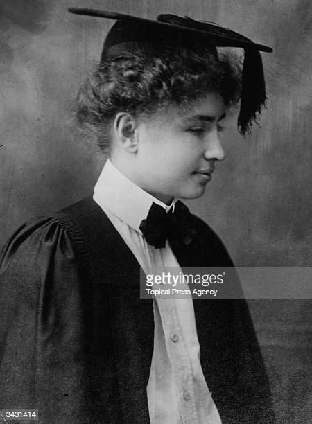 American lecturer and writer Helen Adams Keller on the day of her graduation from Radcliffe College Massachusetts Blind deaf and mute from the age of...
