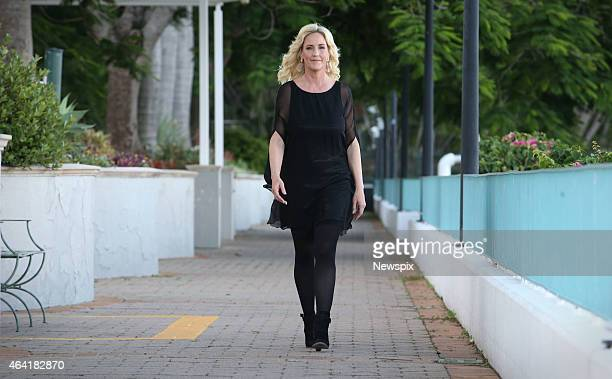 American legal clerk and environmental activist Erin Brockovich poses during a photo shoot at the Stamford Hotel on February 17 2015 in Brisbane...