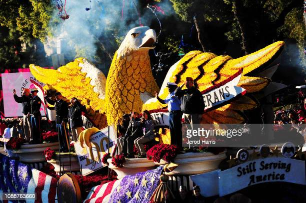 American Legion's 'Still Serving America' float participates in the 130th Rose Parade Presented By Honda 'The Melody Of Life' on January 01 2019 in...